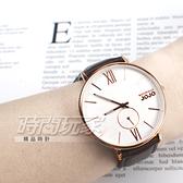 NATURALLY JOJO 文青風 木紋質感 小秒盤 真皮錶帶 防水手錶 玫瑰金色 男錶 JO96931-80RM