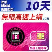 【TPHONE上網專家】汶萊/新加坡/馬來西亞 10天 無限上網卡 前4GB支援4G高速 插卡即用