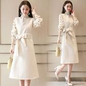深依度2019春夏裝新款大碼兩件套夏季長袖雪紡洋裝套裝裙女8505 金曼麗莎