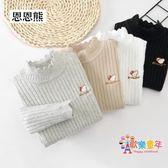 女童毛衣套頭嬰兒童2018新款冬上衣洋氣白小童針織黑女寶寶打底衫