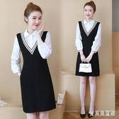 2019新款職業風OL大碼洋裝裝胖女人春裝洋氣胖mm顯瘦假兩件襯衫領短裙 mj10128『寶貝兒童裝』