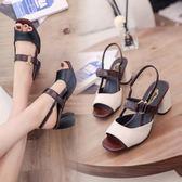 夏季高跟鞋粗跟女鞋新品新款魚嘴 鞋女一字扣帶 拖鞋女外穿韓版