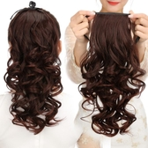 假髮 韓系假髮女生短髮馬尾辮子綁帶式大波浪中長版捲馬尾自然逼真直接髮片 增加髮量
