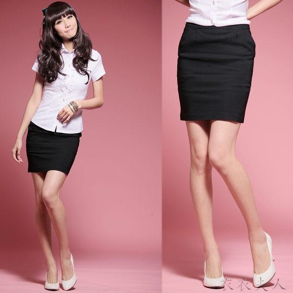 衣衣夫人OL服飾店*XS-XL*【A32237】OL腰前打折西裝短裙(黑)
