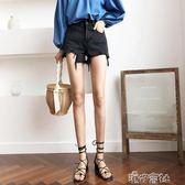 牛仔短褲女夏季韓版寬鬆顯瘦闊腿高腰熱褲黑色 港仔會社