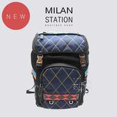 【台中米蘭站】全新品 PRADA 多色尼龍幾何拼接後背包 (藍)