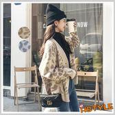 針織罩衫 排扣豹紋修身針織外套JM9859-創翊韓都