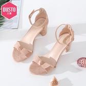 高跟涼鞋DUSTO/大東2020夏季新款甜美粗跟高跟線縫綁結涼鞋女DW19X1013A 貝芙莉