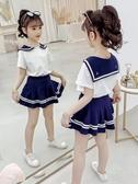女童夏套裝 女童套裝夏裝2020新款洋氣夏季學院風兒童裙網紅童裝女孩兩件套潮【快速出貨】