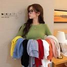 【QV9206】魔衣子-純色彈力顯瘦長袖毛針織衫
