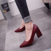 百搭黑色高跟鞋女職業粗跟ol職場中跟尖頭漆皮單鞋女酒紅色高跟鞋  良品鋪子