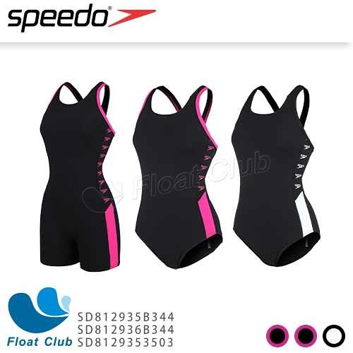 【SPEEDO】女運動連身泳裝 Boom Logo Splice 黑電氣粉紅/黑白 SD81293 原價2480元