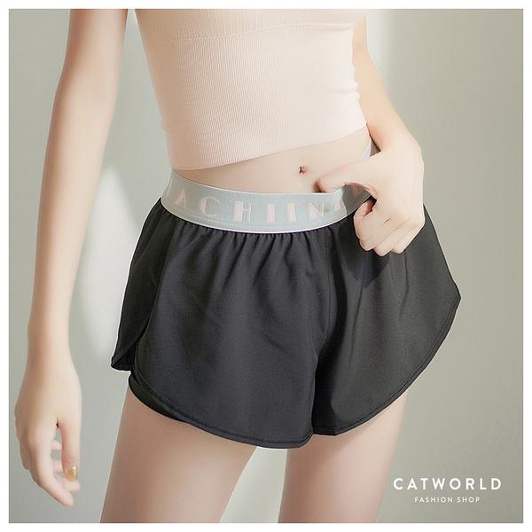 Catworld 粉嫩撞色。防走光雙層運動短褲【14001249】‧S-L