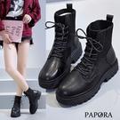 PAPORA經典彈力綁帶裝飾馬丁靴中筒騎士短靴KP79黑