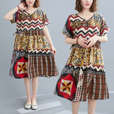胖妹妹大碼洋裝~棉麻洋裝連身裙~棉麻印花短袖連身裙 5062.N515F莎菲娜