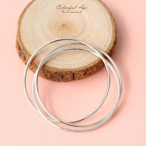 手環 925純銀多層次三環圓形手環 素雅氣質【NPA71】