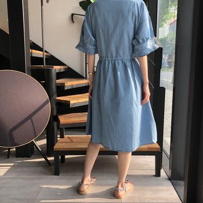 日系洋裝~長版長裙~韓國抽繩收腰荷葉袖V領水洗牛仔重工刺繡連身裙#2708N515愛尚布衣