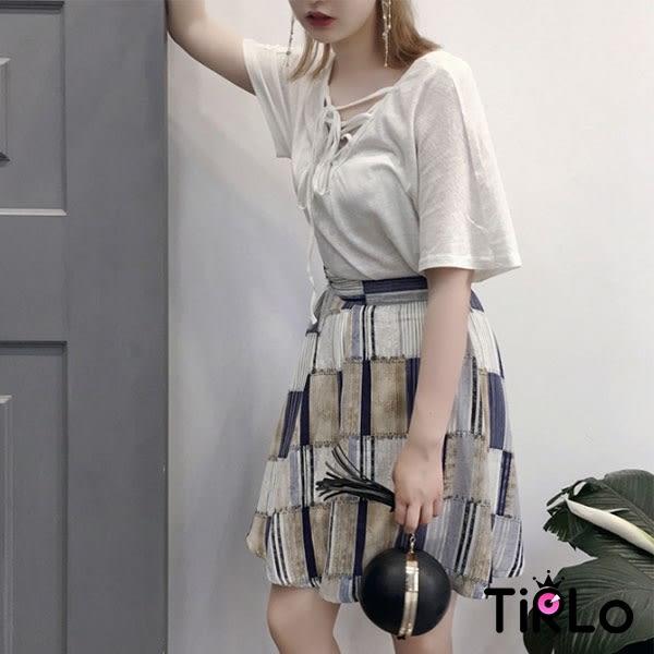 短裙-Tirlo-Korea韓製拼接風格傘擺圓裙-單一