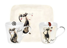 英國Pimpernel-兩杯一盤禮盒組(個性貓咪)