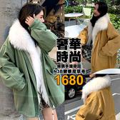 克妹Ke-Mei【AT56766】*採購手提帶回*N3B奢華皮草毛毛後抽繩卡其軍風長大衣
