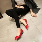 低跟鞋 蝴蝶結尖頭單鞋淺口水鉆紅色伴娘鞋平底低跟黑色工作女鞋【降價兩天】