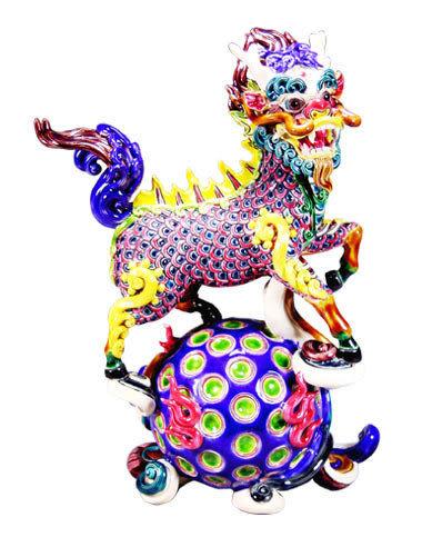 鹿港窯-居家開運商品-台灣國寶交趾陶~鴻運滾滾(麒麟)