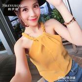 吊帶背心女短款純色新款韓版學生露肩雪紡打底衫無袖T恤裝上衣  朵拉朵衣櫥
