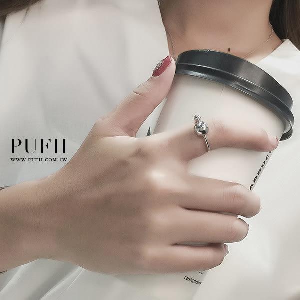 PUFII-戒指 大小圓球可調式金屬戒指- 0413 現+預 春【CP12498】