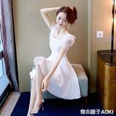 仙女裙子超仙短款女年新款夏季氣質小個子白色蕾絲禮服洋裝 青木鋪子