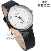 KEZZI珂紫 簡約流行錶 小秒盤造型 防水手錶 學生錶 女錶 中性錶 皮革錶帶 黑色 KE1771黑小