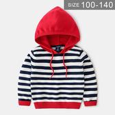 韓版男童針織上衣。ROUROU童裝。春秋男童中小童條紋連帽針織長袖上衣 0131-460