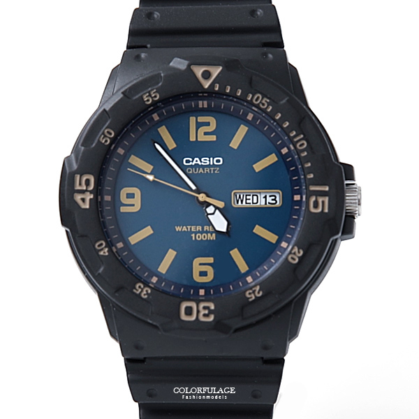 CASIO卡西歐 靛藍色休閒運動膠錶 防水100米【NEC73】