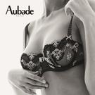 Aubade櫻花戀B-E刺繡薄襯內衣(黑)QB