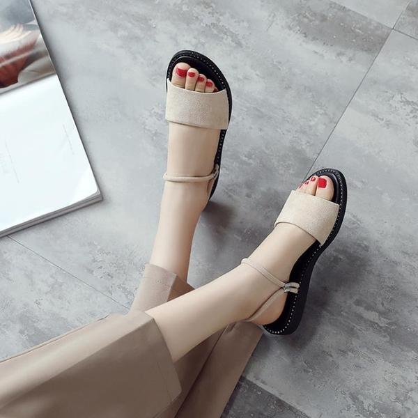 涼鞋女2019夏季新款平底兩穿百搭網紅平跟外穿chic女鞋仙女風拖鞋