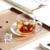咖啡杯碟套裝ins風玻璃咖啡杯碟套裝歐式摩卡拿鐵拉花透明杯下午茶杯加厚 送勺  雲朵 618購物
