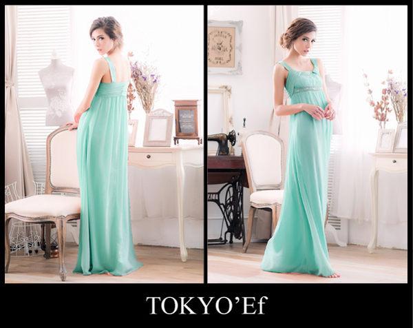 東京衣服 手工釘珠刺繡U領 高腰顯瘦長禮服 tiffany綠