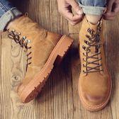 男馬丁靴 中筒靴 秋冬新款英倫風工裝靴高幫復古真皮休閒沙漠靴男靴子《印象精品》q1342