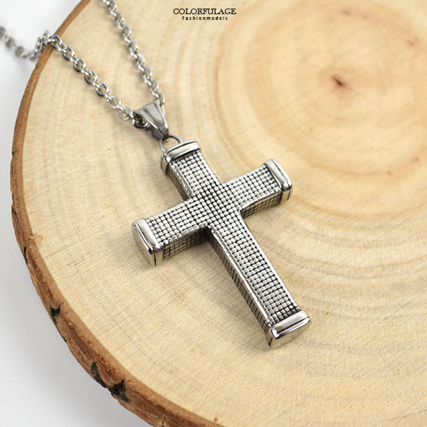 十字架項鍊 鋼製立體滿版格紋NB995