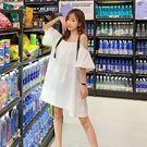洋裝.韓版寬鬆純色一字領吊帶連身裙.白鳥麗子