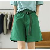 工裝短褲高腰顯瘦寬鬆直筒褲五分褲贈腰帶/設計家K4559