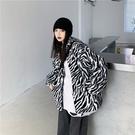 羊羔絨外套斑馬紋棉衣寬松加厚棉服女秋冬【少女顏究院】