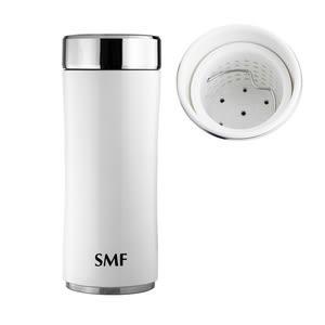 【雙重送】SMF濾茶骨瓷保溫杯340ml-鮮乳白❤送密封瓶+帆布束口袋
