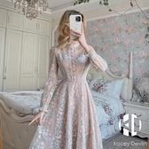 碎花連身裙春季新款收腰顯瘦氣質小個子蕾絲裙子【Kacey Devlin 】