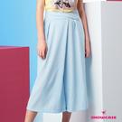【SHOWCASE】交叉腰釦簡約素面顯瘦七分寬褲(藍)