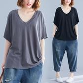 純棉T恤女短袖胖mm夏季新款2019大碼女裝遮肚減齡V領上衣服打底衫