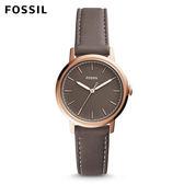 FOSSIL Neely 都會百搭款咖啡灰皮革手錶 女