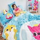 床包 / 雙人【鯊魚寶寶海底漫遊-藍】含兩件枕套 高密度磨毛 戀家小舖台灣製 碰碰狐 Babyshark