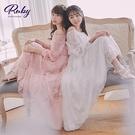 洋裝 蕾絲一字領縮腰兩穿長袖洋裝-Ruby s 露比午茶