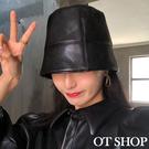 [現貨]帽子 漁夫帽 水桶帽 盆帽 黑色質感皮革 中性個性暗黑 復古文青穿搭配件 C2116 OT SHOP