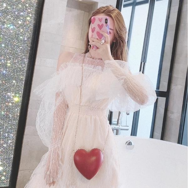 法式小眾短裙子秋荷葉邊性感露肩蕾絲透視小洋裝連衣裙收腰禮服裙 漫步雲端